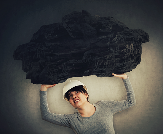 Woman with Rock Safe Lifting